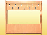 Вешалка для гардеробных из ДСП, 1-сторонняя (11 крючков) - 1836х360х1800 мм