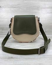 Женская сумка «Megan» полукруглая на плечо оливковая с бежевым Welassie