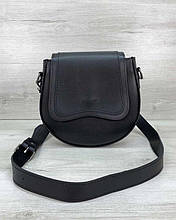Женская сумка «Megan» полукруглая на плечо черная Welassie
