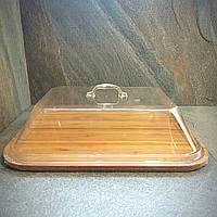 Поднос бамбуковый прямоугольный с прозрачной крышкой Helios 40х30 см (7311)