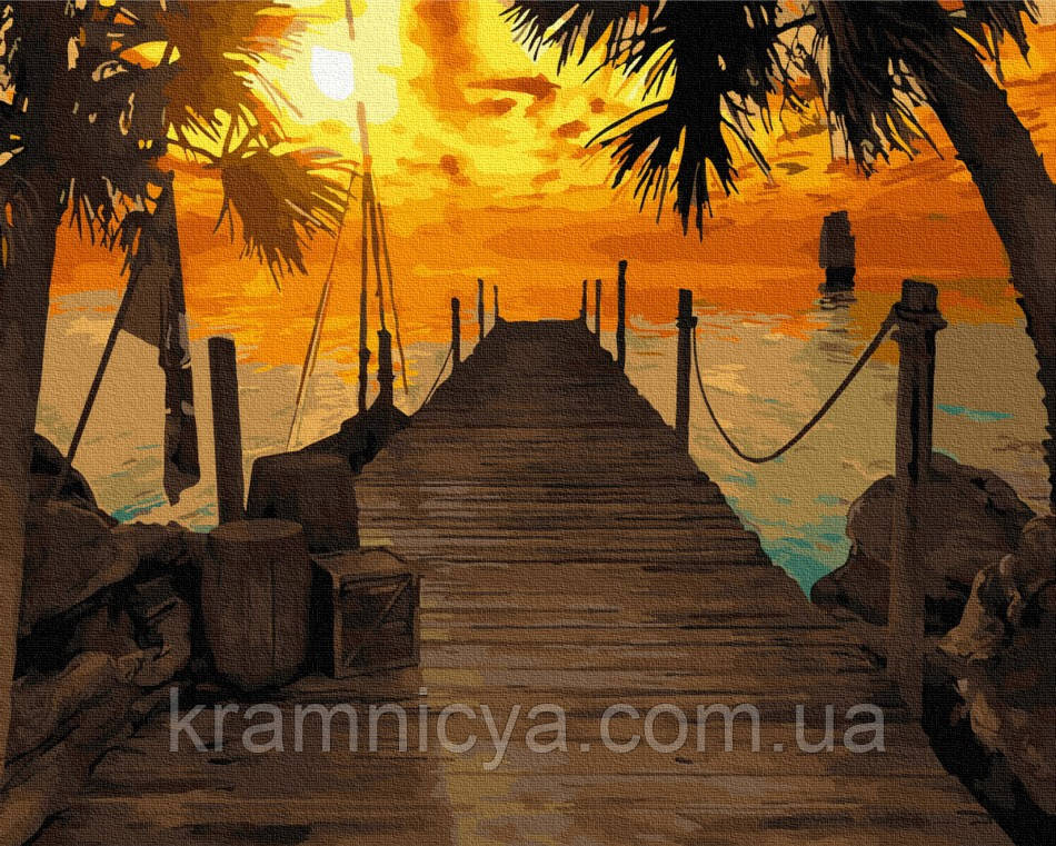 Картина по номерам Нежный закат у причала, Rainbow Art (GX24029) 40х50 см.