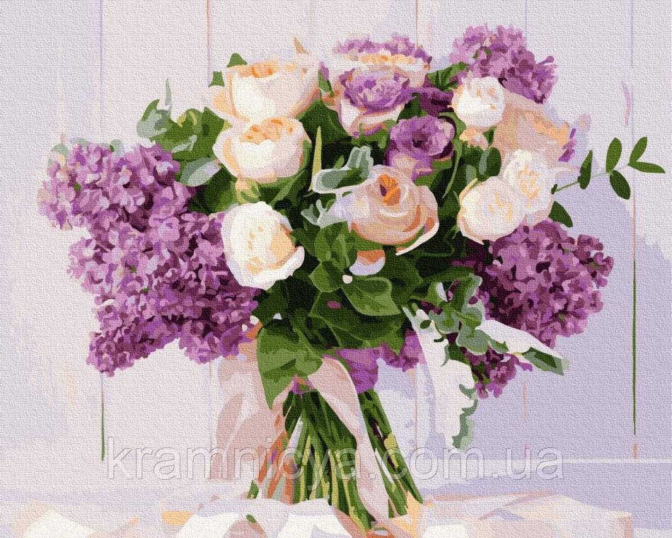 Картина по номерам Розы и сирень, Rainbow Art (GX34724) 40х50 см.