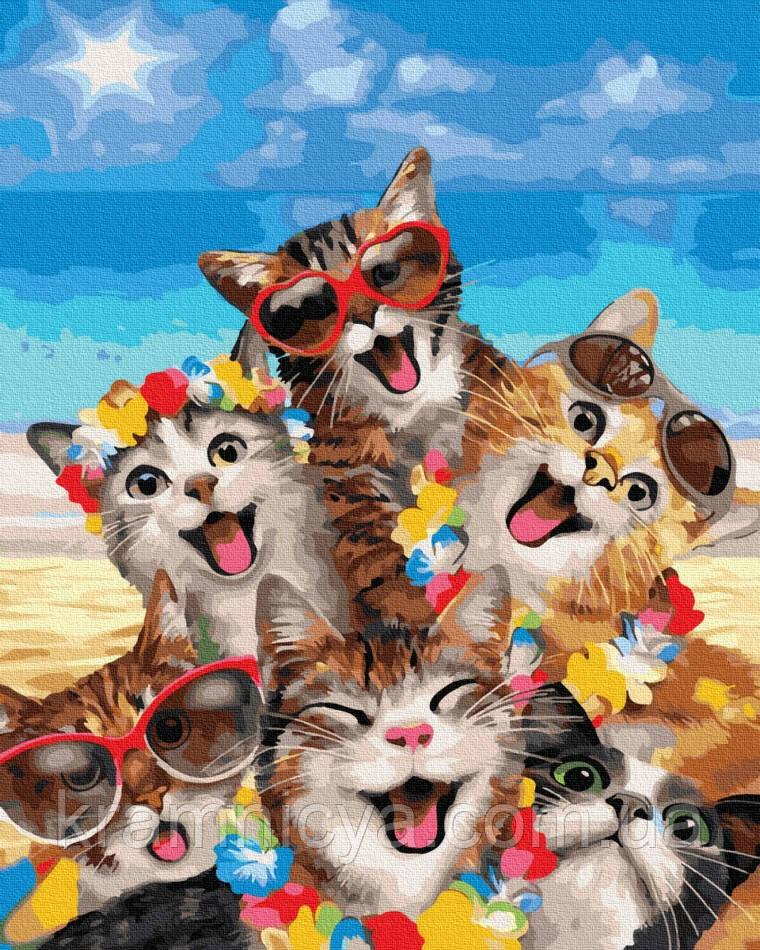Картина по номерам Веселые кошки, Rainbow Art (GX35795) 40х50 см.