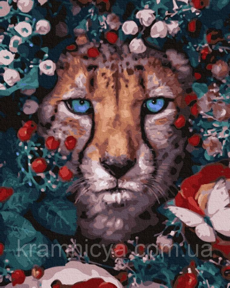 Картина по номерам Цветочной леопард, Rainbow Art (GX32765) 40х50 см.