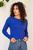 Модный джемпер вязки косичка Evelin - синий цвет, L/XL (есть размеры), фото 1