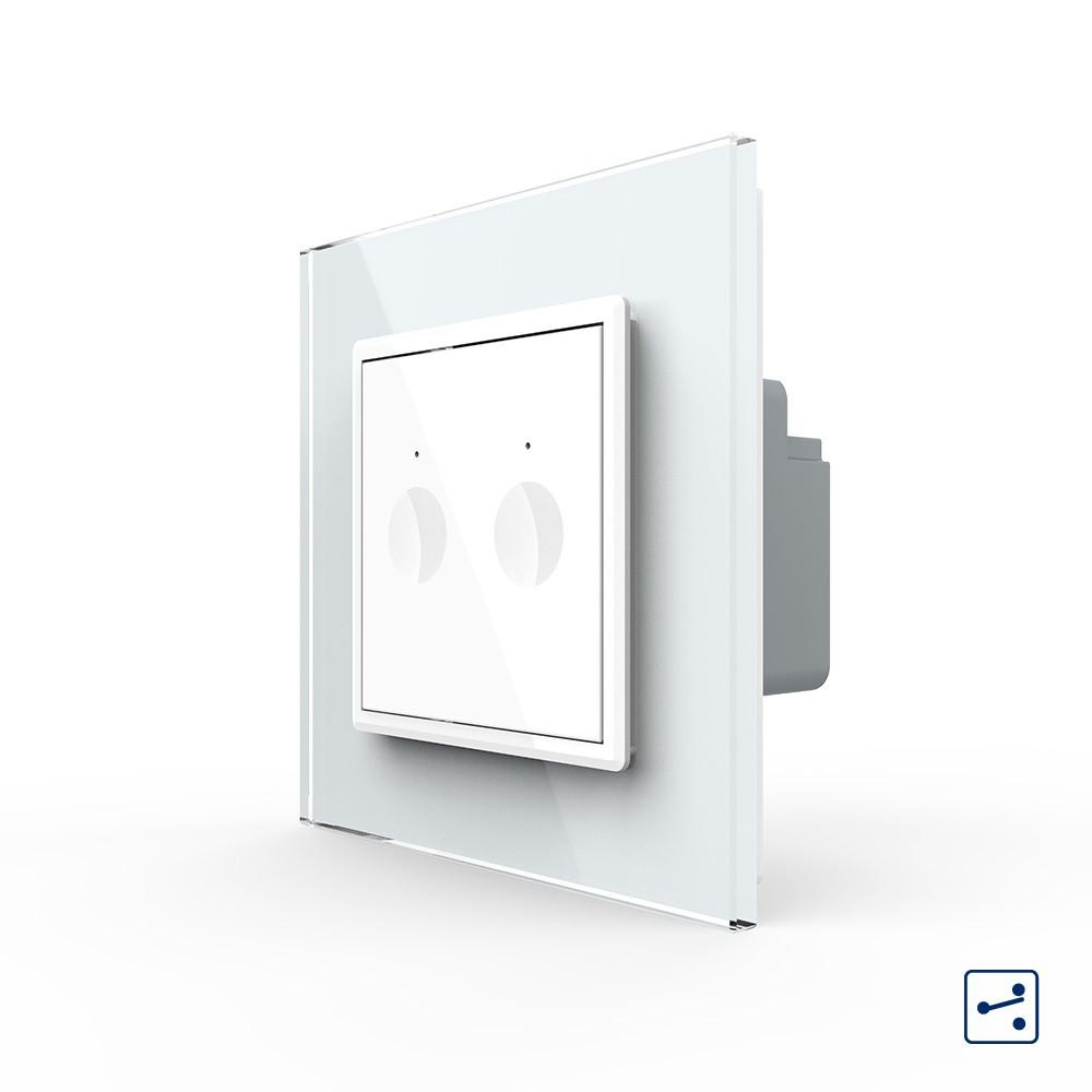 Сенсорный проходной маршевый перекрестный выключатель Livolo Sense 2 канала белый (702000411)