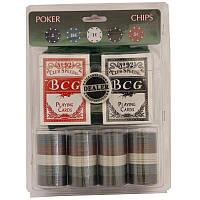 Набор покерный 100 фишек, карты и полотно в блистере