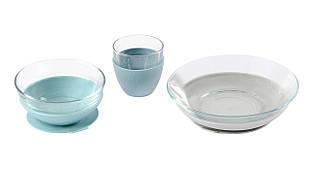 Набір дитячого посуду зі скла 3 предмета Beaba - блакитний , арт. 913486