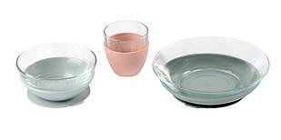 Набір дитячого посуду зі скла 3 предмета Beaba - рожевий/сірий, арт. 913487
