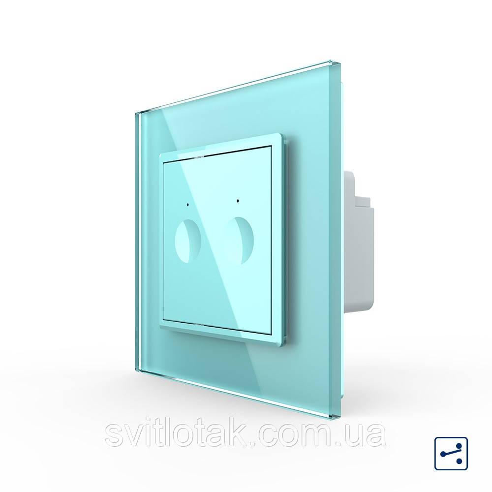 Сенсорный проходной маршевый перекрестный выключатель Livolo Sense 2 канала зеленый (722000418)