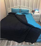 Льняная постель комплект KonopliUA 240х260 см Черно-голубой (1-131)