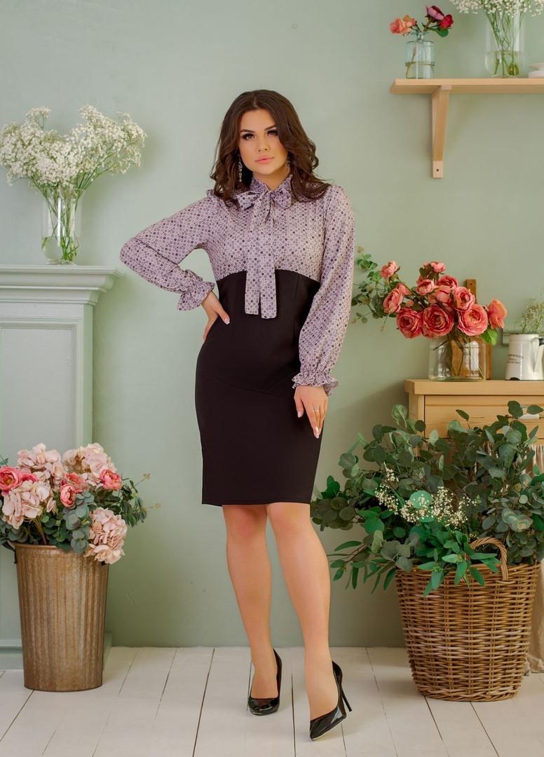 Женское платье батал, костюмка + супер - софт, р-р 48; 50; 52; 54 (чёрный)