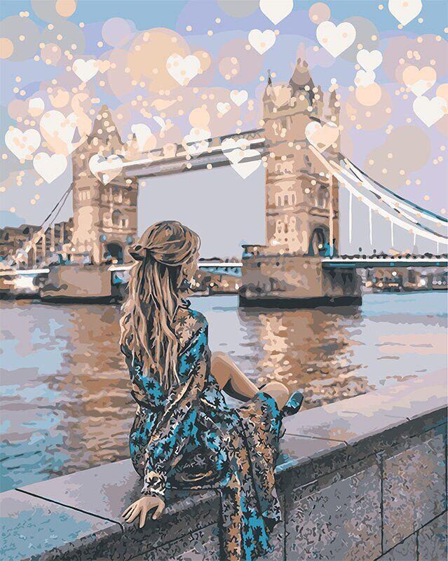 KH4574 Раскраска по номерам Романтичный Лондон, Без коробки