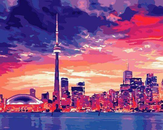 AS0689 Набор для рисования по номерам Ночной Торонто, В картонной коробке, фото 2