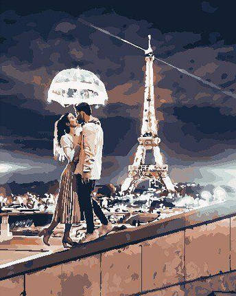 AS0750 Набор для рисования по номерам Любовь в Париже, В картонной коробке, фото 2