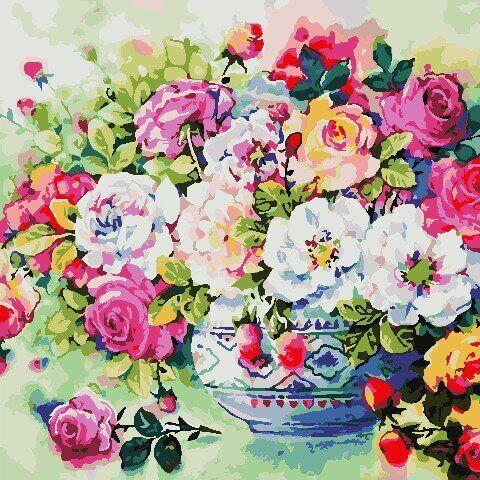 AS0801 Набор для рисования по номерам Разноцветные розы, Без коробки