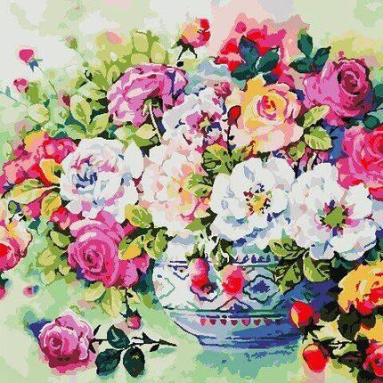 AS0801 Набор для рисования по номерам Разноцветные розы, Без коробки, фото 2
