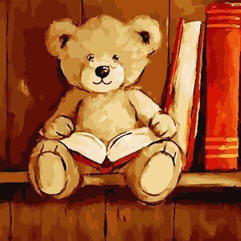 AS0803 Набор для рисования по номерам Мишка с книгой, Без коробки