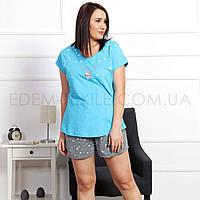 Пижама женская для полных Футболка и Шорты 0090, Бирюзовый, XL