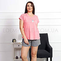 Пижама на лето женская для полных Vienetta 0090, Розовый, XXXL