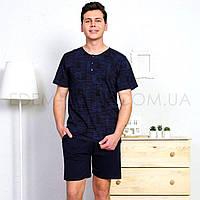 Пижама мужская летняя футболка и шорты 1619, Синий, S