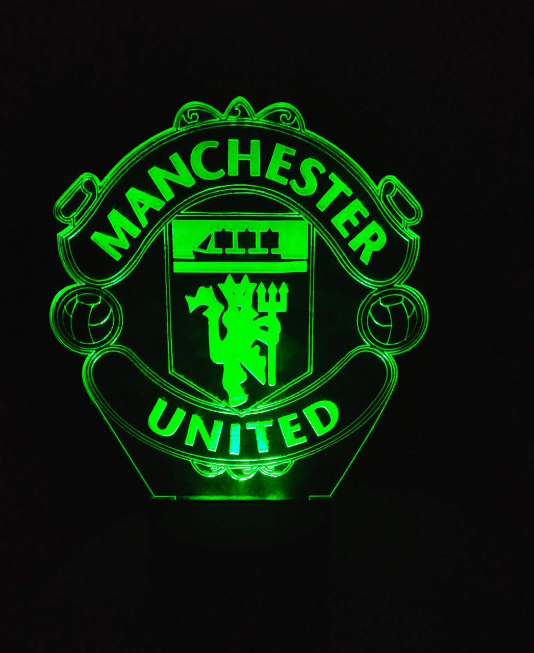 3d-светильник ФК Манчестер Юнайтед, 3д-ночник, несколько подсветок (на пульте)