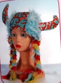 Шапка  карнавальная викинга с косичками голубая