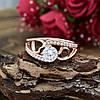 Кольцо Xuping 14816 размер 20 ширина 10 мм вес 3.1 г белые фианиты позолота РО, фото 3