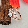 Кольцо Xuping 14816 размер 18 ширина 10 мм вес 3.1 г белые фианиты позолота РО, фото 3