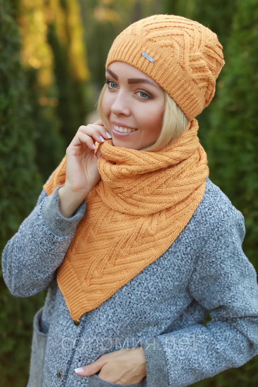Комплект шапка и шарф теплый шерстяной