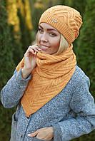 Комплект шапка и шарф теплый шерстяной, фото 1