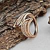 Кольцо Xuping 14800 размер 21 ширина 20 мм вес 3.7 г белые фианиты позолота 18К, фото 3