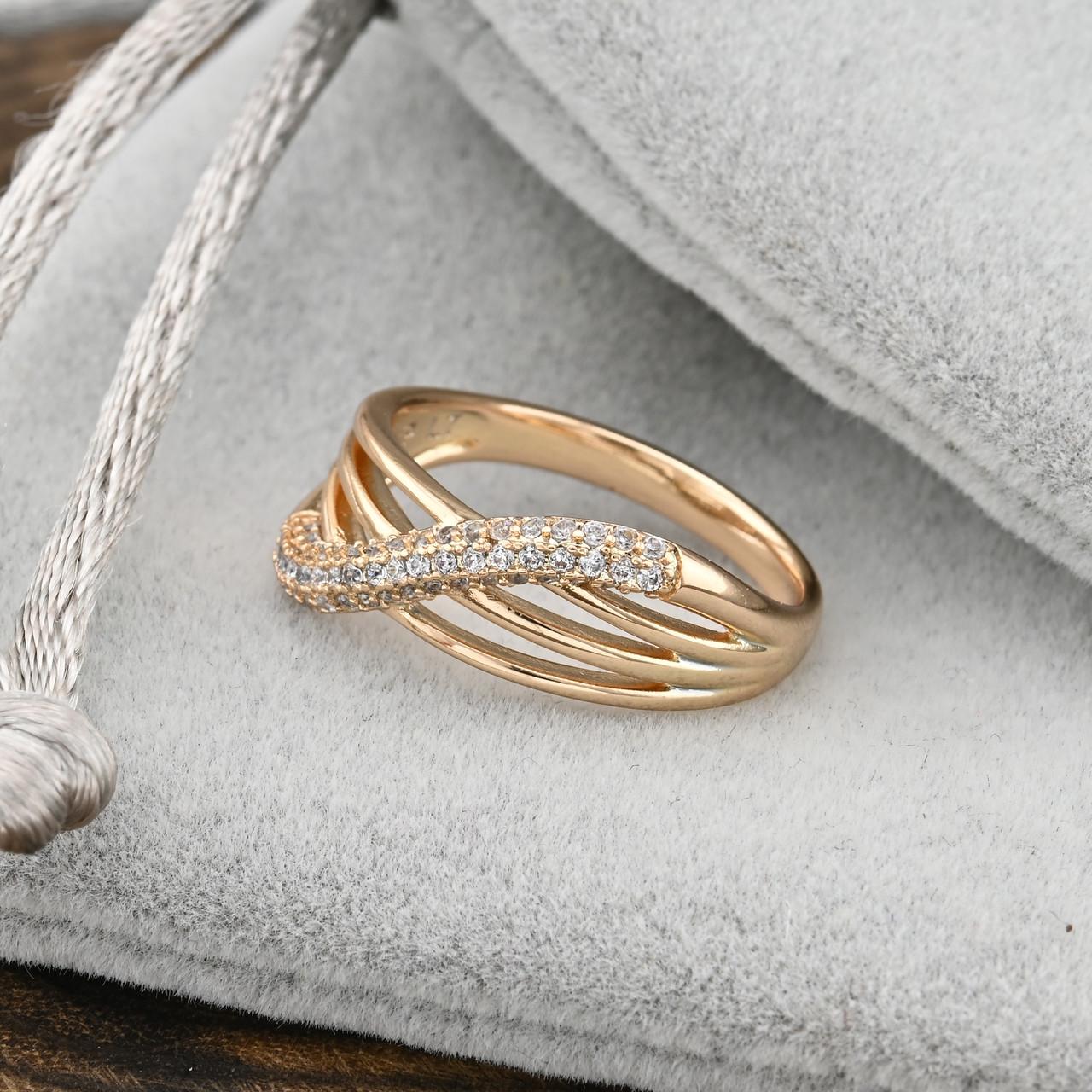 Кольцо Xuping 14818 размер 20 ширина 10 мм вес 2.3 г белые фианиты позолота 18К