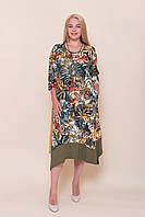 Яркое платье цвета хаки батал. Турция 2020. Продажа оптом и в розницу, фото 1