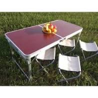 Стол складной туристический для пикника + 4 стула Rainberg RB-9300 с регулировкой высоты