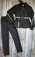 Модный подрастковый костюм чёрный с буквами (пиджак +брюки)