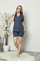 Женская летняя пижама с шортами синяя в горошек, Хлопок Турция