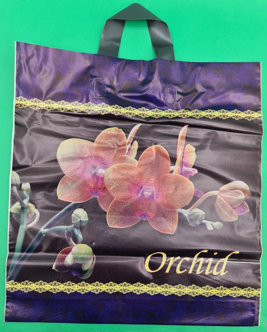 """Пакет полиэтиленовый цветной с петлевой ручкой плотный """"Орхидея""""(38х42+3) 90мк ДПА, 50 шт\уп"""