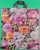 """Пакет полиэтиленовый цветной с петлевой ручкой плотный """"Летний Дизайн (38х42) 90мк, 50 шт\уп, фото 1"""