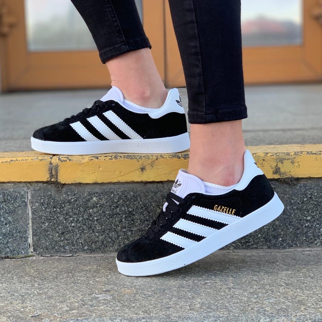 Мужские кроссовки Adidas Gazelle Black/White. Стильные кроссовки Адидас мужские черные.