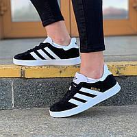 Мужские кроссовки Adidas Gazelle Black/White. Стильные кроссовки Адидас мужские черные. , фото 1