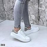 Жіночі кросівки білі кеди, принт хамелеон, фото 2