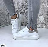 Жіночі кросівки білі кеди, принт хамелеон, фото 3