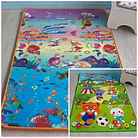 Детский коврик для ползания двухсторонний (Сад + Аквариум). Детский коврик игровой на пол мягкий в детскую