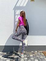 Лосины стильные яркие с завышенной талией в леопардовый принт LLd78, фото 1