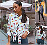 Р 48-62 Женская цветная шифоновая рубашка Батал 22098