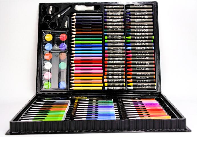 Набор для рисования 150 предметов с мольбертом для детей в удобном чемодане