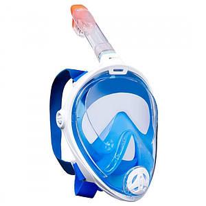 Инновационная маска для снорклинга подводного плавания Easybreath размер L\XL Синяя