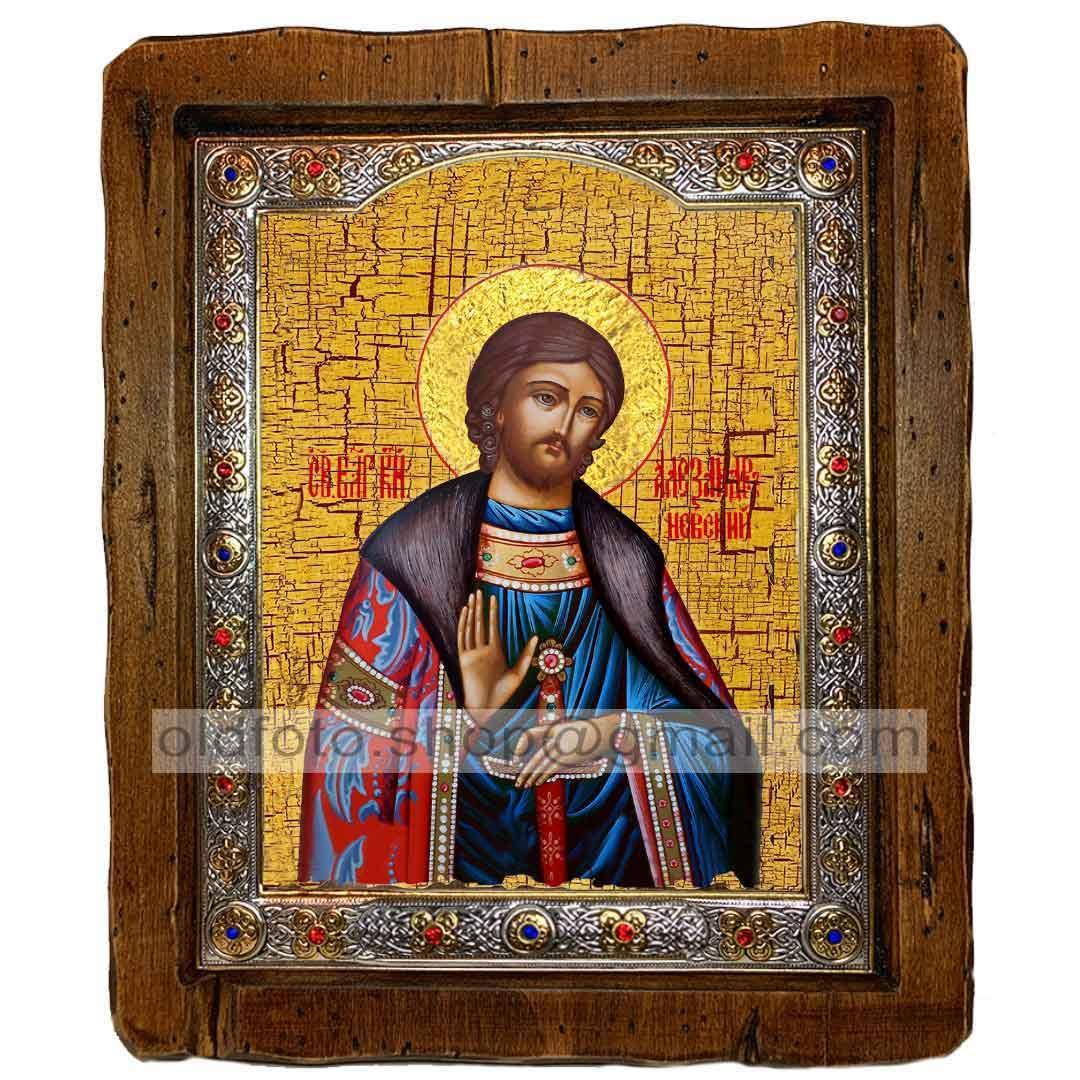 Икона Александр Святой Благоверный Князь Невский  ,с посеребренным окладом 210х250 мм