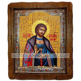 Икона Александр Святой Благоверный Князь Невский  ,с посеребренным окладом 110х130 мм